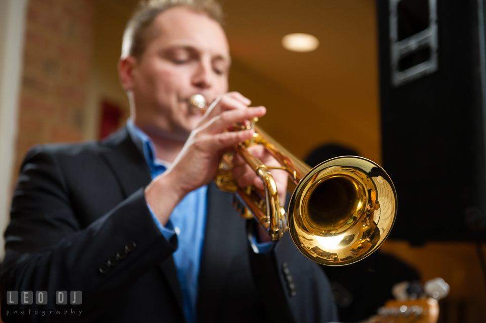 Trumpet player from the Bachelor Boys performing. Aspen Wye River Conference Centers wedding at Queenstown Maryland, by wedding photographers of Leo Dj Photography. http://leodjphoto.com