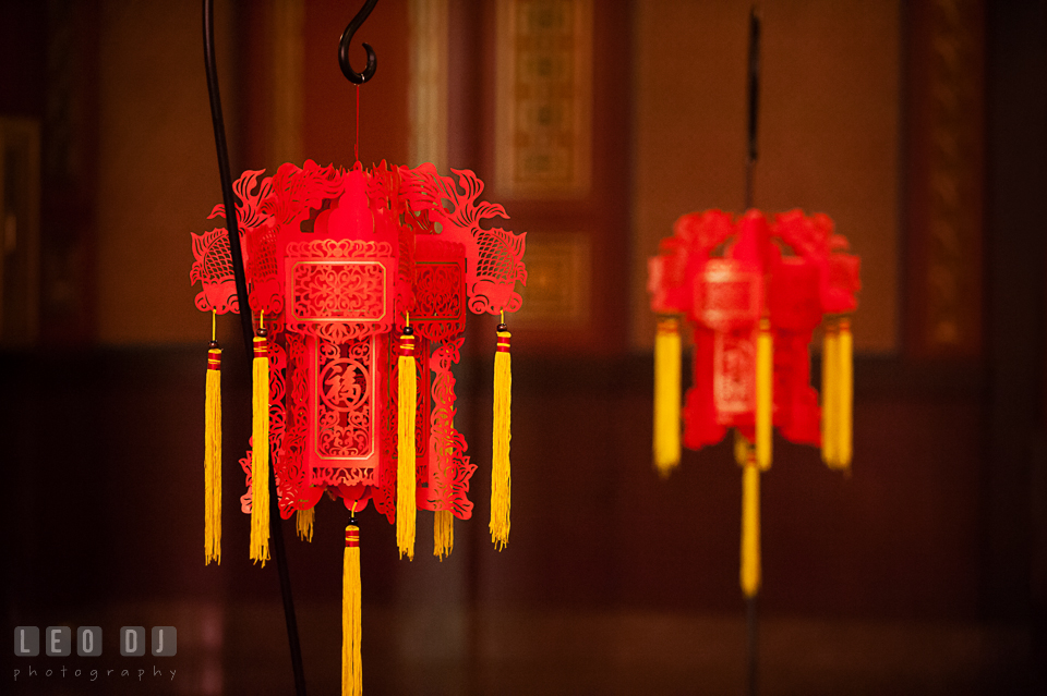 Red Chinese lantern decorations for ceremony at the Oriental Room. Tremont Grand Historic Venue wedding, Baltimore, Maryland, by wedding photographers of Leo Dj Photography. http://leodjphoto.com