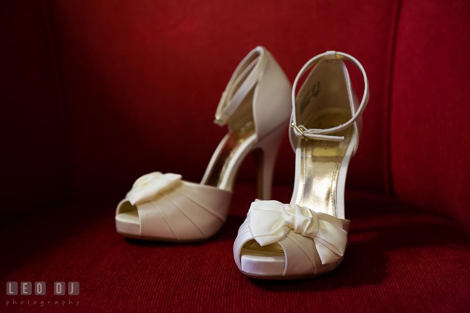 Detail shot of Bride's wedding shoes. Tremont Grand Historic Venue wedding, Baltimore, Maryland, by wedding photographers of Leo Dj Photography. http://leodjphoto.com