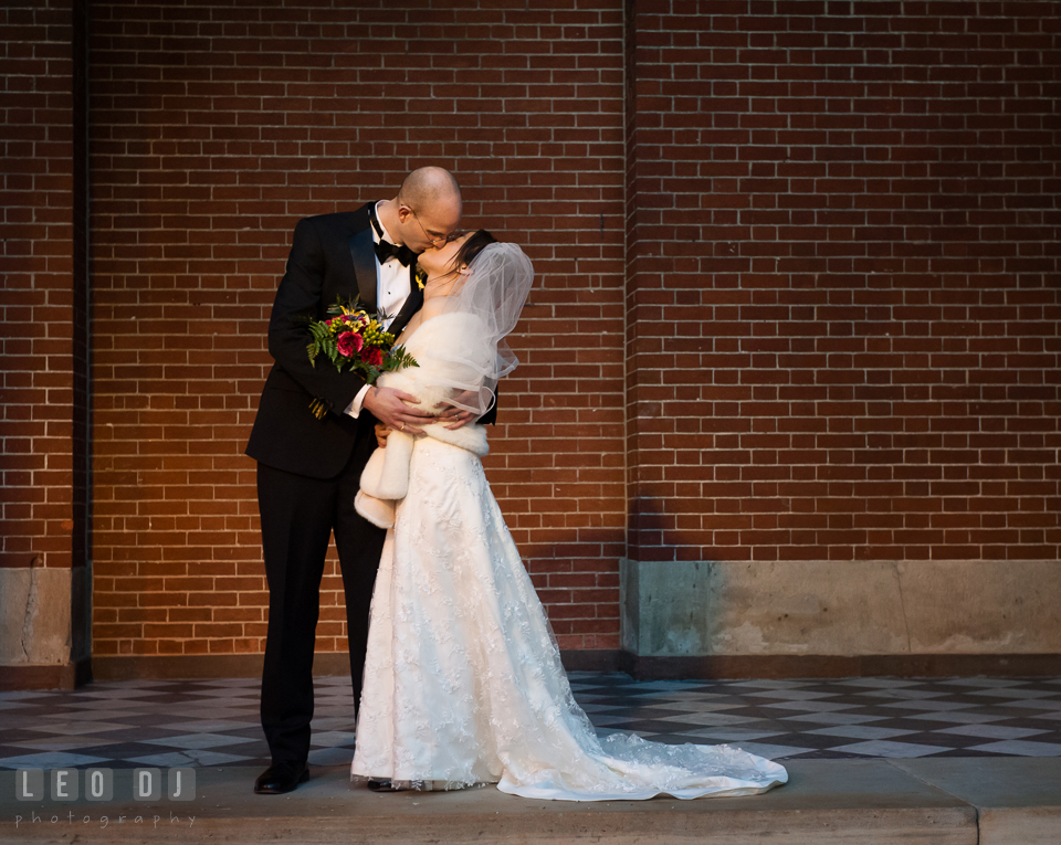 Bride and Groom kissing during a romantic portrait session. Tremont Grand Historic Venue wedding, Baltimore, Maryland, by wedding photographers of Leo Dj Photography. http://leodjphoto.com