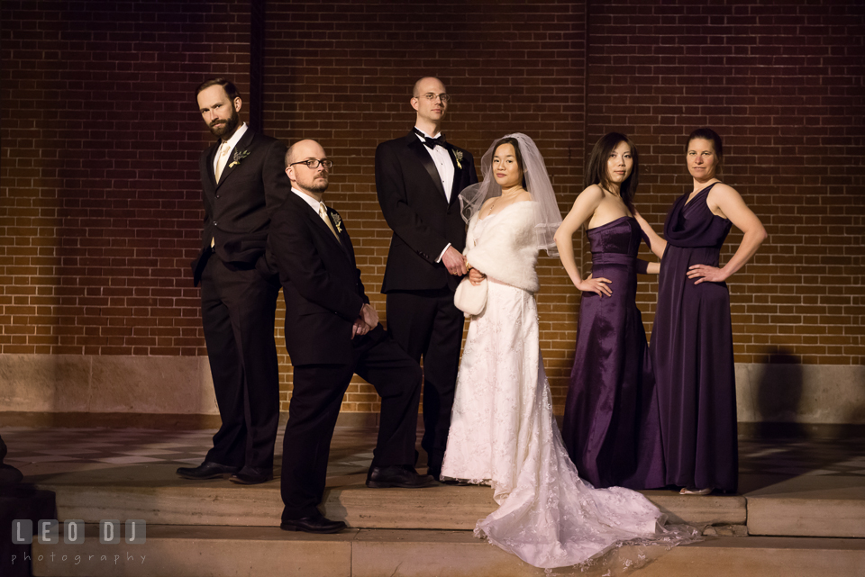 Bride and Groom posing with Best Man, Groomsman, Maid of Honor and Bridesmaid. Tremont Grand Historic Venue wedding, Baltimore, Maryland, by wedding photographers of Leo Dj Photography. http://leodjphoto.com