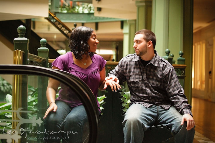 Engaged couple looking at each other. Pre wedding engagement photo session at Georgetown, Washington DC by wedding photographer Leo Dj Photography