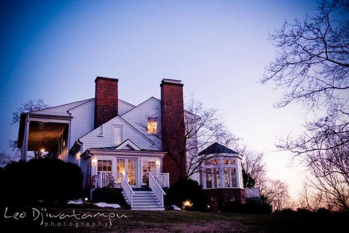 Evening view of the historic building, house. Clifton Inn Charlottesville VA Destination Wedding Photographer