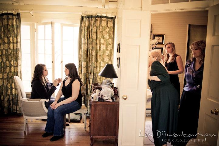bride, maid of honor, bridesmaid, mother, grandmother, getting ready, wearing make up. Clifton Inn Charlottesville VA Destination Wedding Photographer