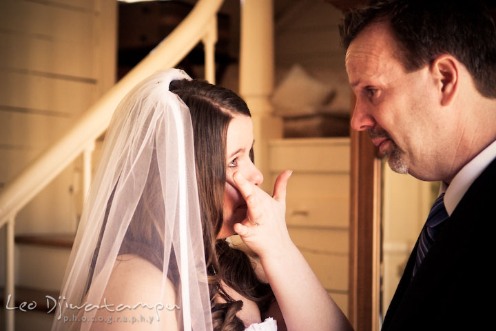bride emotional, shed tear, looking at her father. Clifton Inn Charlottesville VA Destination Wedding Photographer