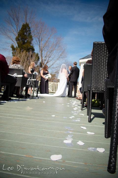 flower petals leading down the isle to the altar. Clifton Inn Charlottesville VA Destination Wedding Photographer