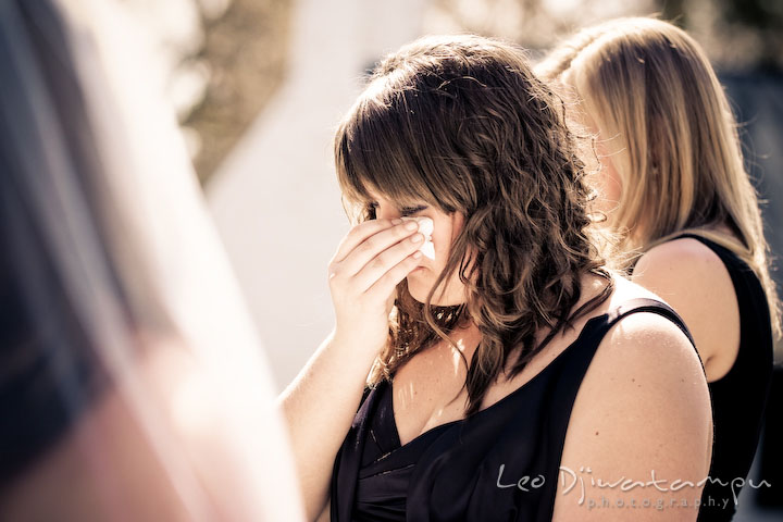 maid of honor shedding tear. Clifton Inn Charlottesville VA Destination Wedding Photographer