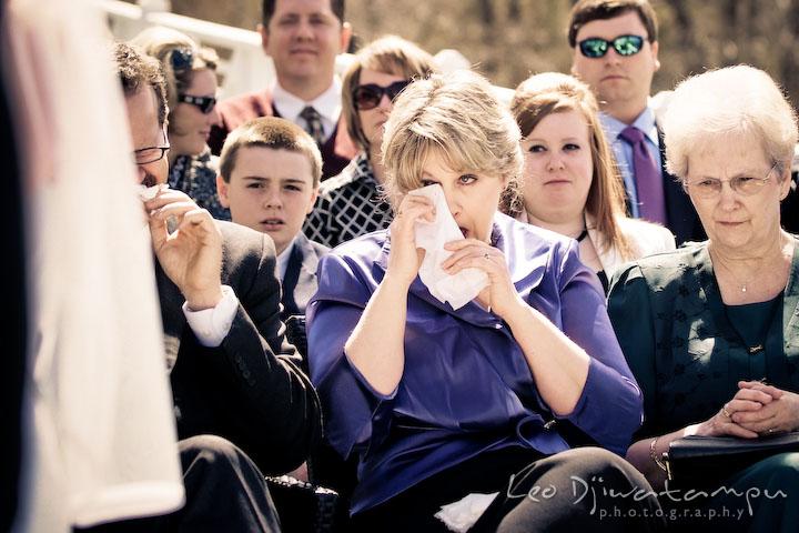 mother of the bride shedding tear. Clifton Inn Charlottesville VA Destination Wedding Photographer