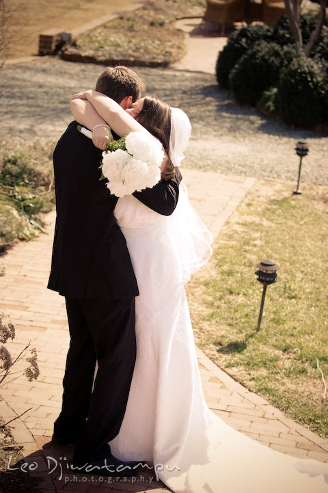 bride and groom hugging after the ceremony. Clifton Inn Charlottesville VA Destination Wedding Photographer