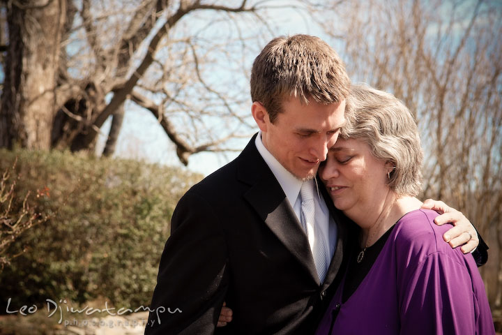 groom hugging his mother. Clifton Inn Charlottesville VA Destination Wedding Photographer