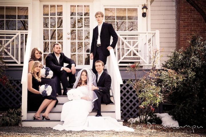 Bride, groom, maid of honor, bridesmaid, best man, groomsman, the party, posing. Clifton Inn Charlottesville VA Destination Wedding Photographer