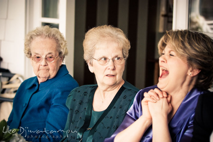 mother of the bride laughing, grandmother looking. Clifton Inn Charlottesville VA Destination Wedding Photographer