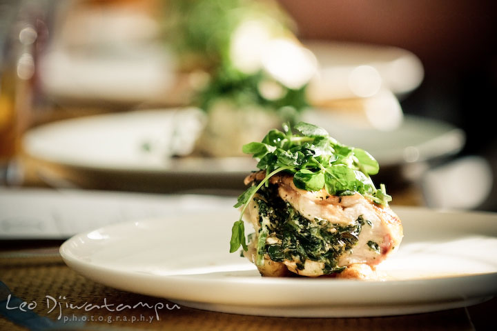 the entree for the wedding party lunch, breast of chicken stuffed with spinach and boursin, roasted, fingerling potatoes and herb pan gravy. Clifton Inn Charlottesville VA Destination Wedding Photographer