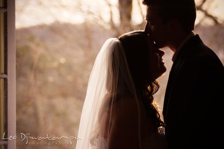 groom kissed bride's forehead, silhouette. Clifton Inn Charlottesville VA Destination Wedding Photographer