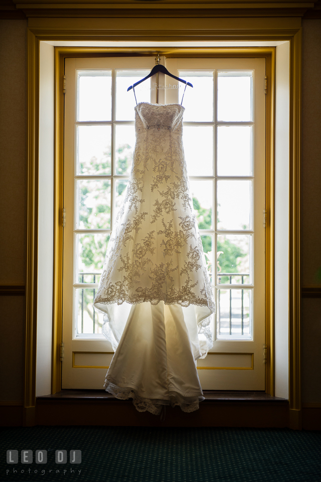 Bride's beautiful wedding dress by Mon Cheri. Aspen Wye River Conference Centers wedding at Queenstown Maryland, by wedding photographers of Leo Dj Photography. http://leodjphoto.com