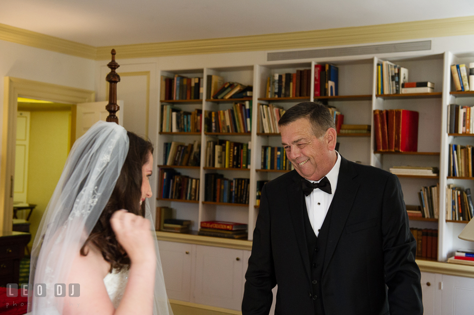 The Father of Bride, upon seeing his daughter for the first time in her wedding dress. Aspen Wye River Conference Centers wedding at Queenstown Maryland, by wedding photographers of Leo Dj Photography. http://leodjphoto.com
