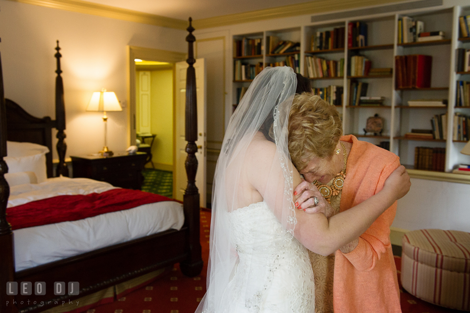 Grandmother shed tears crying seeing Bride for the first time in her wedding dress. Aspen Wye River Conference Centers wedding at Queenstown Maryland, by wedding photographers of Leo Dj Photography. http://leodjphoto.com