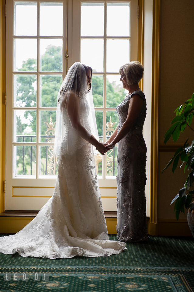 Private moments with Mom before the Bride walked down the aisle. Aspen Wye River Conference Centers wedding at Queenstown Maryland, by wedding photographers of Leo Dj Photography. http://leodjphoto.com