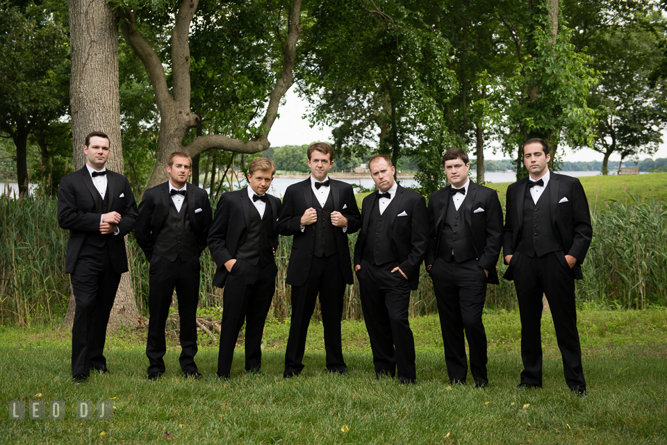 The Groom with his Best Man and Groomsmen. Aspen Wye River Conference Centers wedding at Queenstown Maryland, by wedding photographers of Leo Dj Photography. http://leodjphoto.com