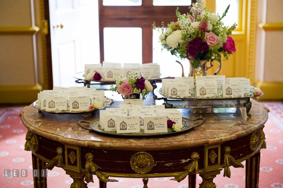 Table assignment placecards for the wedding reception. Aspen Wye River Conference Centers wedding at Queenstown Maryland, by wedding photographers of Leo Dj Photography. http://leodjphoto.com