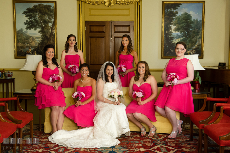 The lovely Bride with her Maid of Honor and Bridesmaids. Aspen Wye River Conference Centers wedding at Queenstown Maryland, by wedding photographers of Leo Dj Photography. http://leodjphoto.com