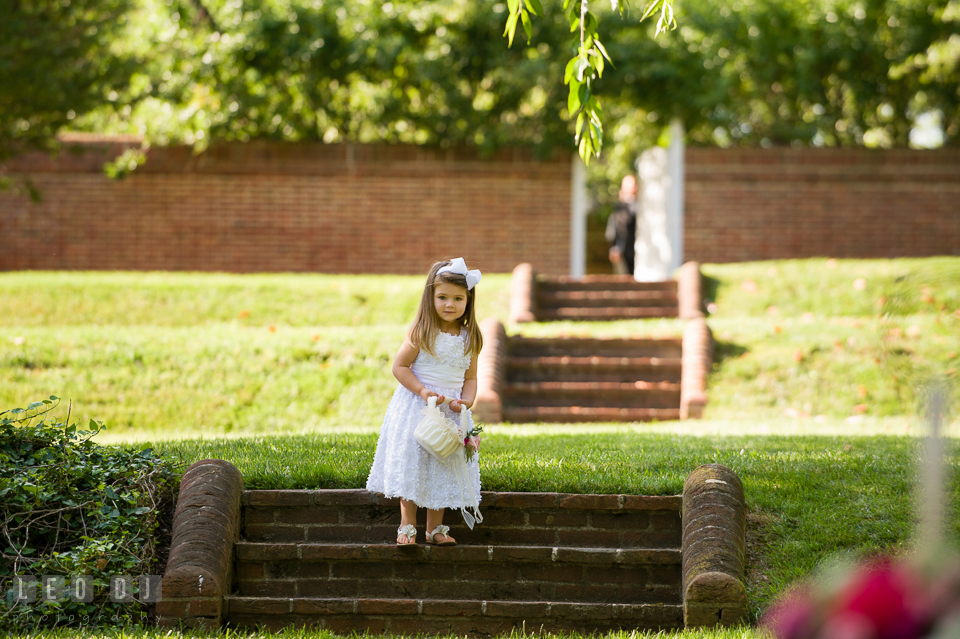 Pretty flower girl leading the wedding procession. Aspen Wye River Conference Centers wedding at Queenstown Maryland, by wedding photographers of Leo Dj Photography. http://leodjphoto.com