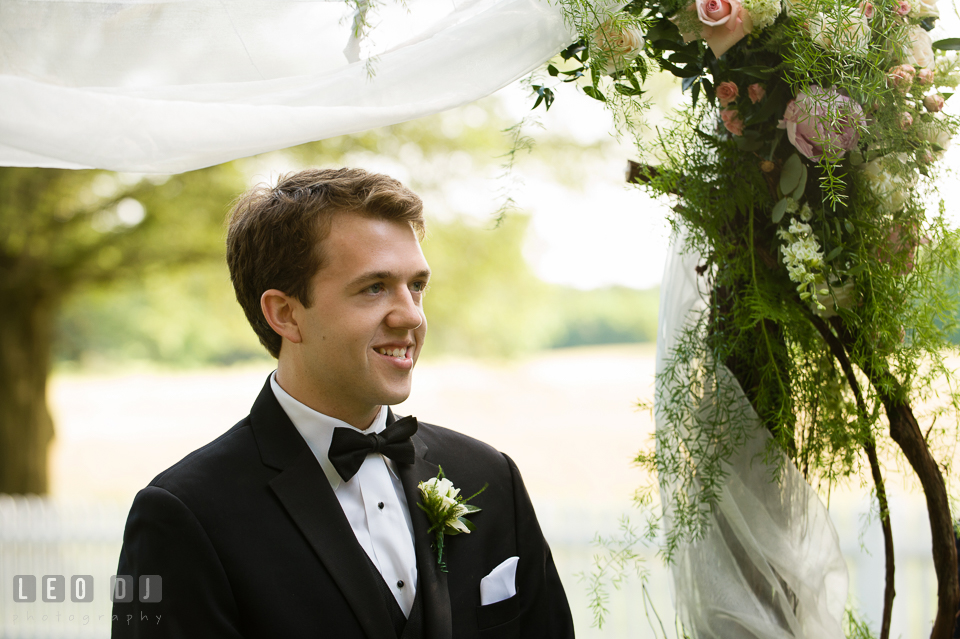 Groom's happy expression upon seeing his Bride for the first time. Aspen Wye River Conference Centers wedding at Queenstown Maryland, by wedding photographers of Leo Dj Photography. http://leodjphoto.com