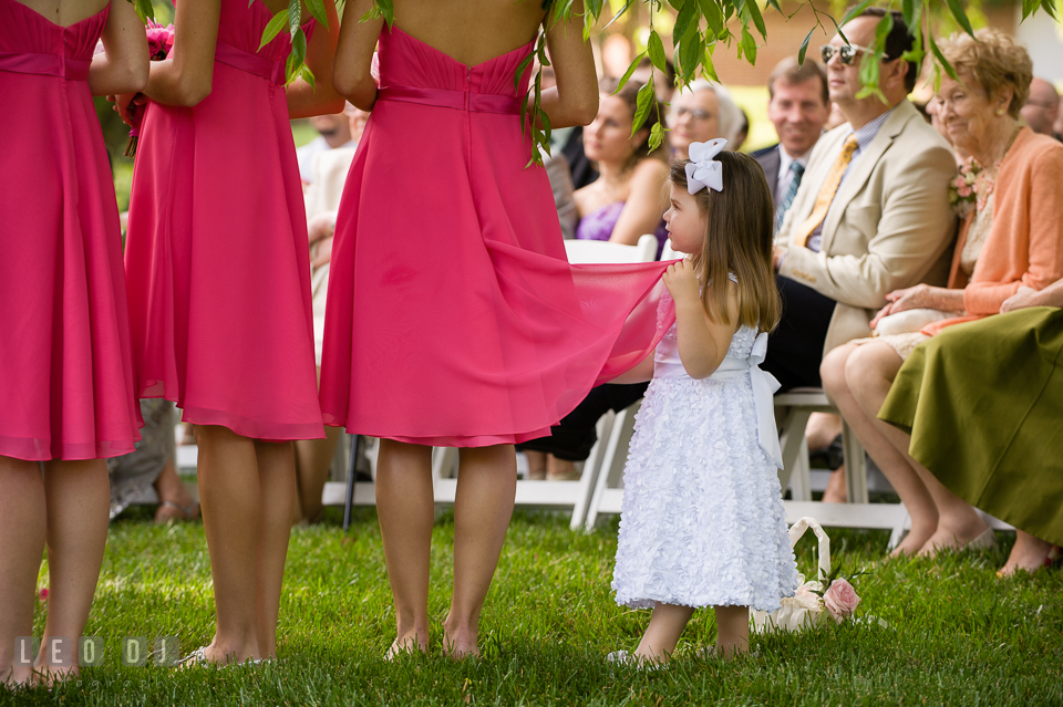 The young flower girl among the Bridesmaids. Aspen Wye River Conference Centers wedding at Queenstown Maryland, by wedding photographers of Leo Dj Photography. http://leodjphoto.com