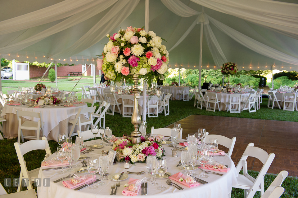 Table setting and decorations by Monteray Farms at the wedding reception. Aspen Wye River Conference Centers wedding at Queenstown Maryland, by wedding photographers of Leo Dj Photography. http://leodjphoto.com