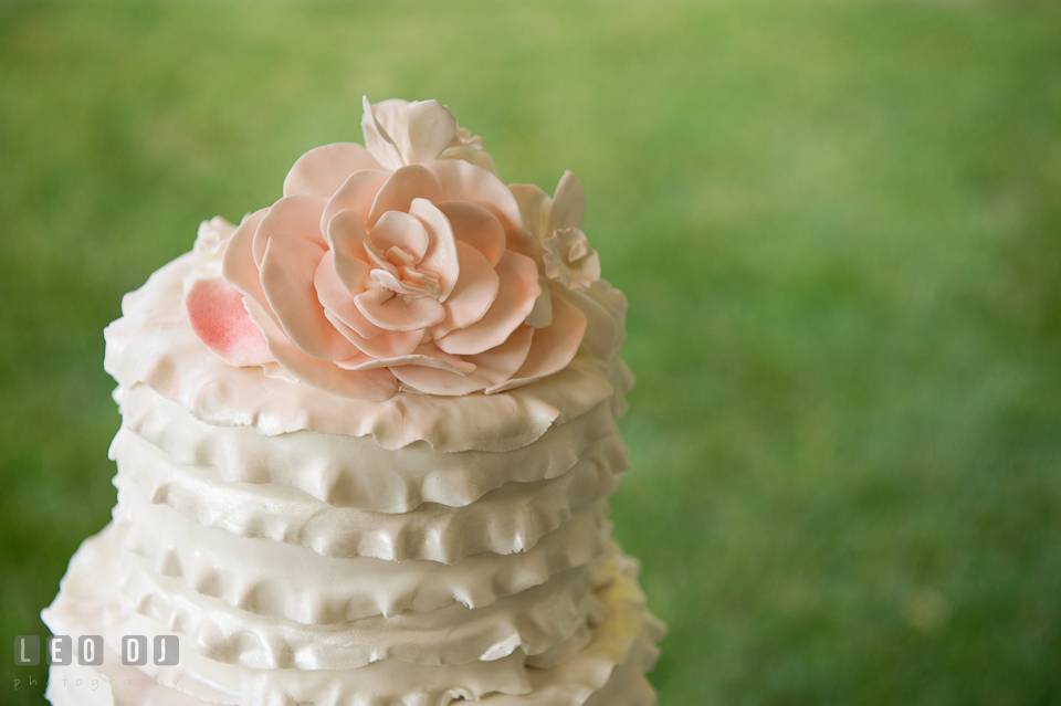 The pastel pink rose cake topper on wedding cake by Bay Country Bakery. Aspen Wye River Conference Centers wedding at Queenstown Maryland, by wedding photographers of Leo Dj Photography. http://leodjphoto.com