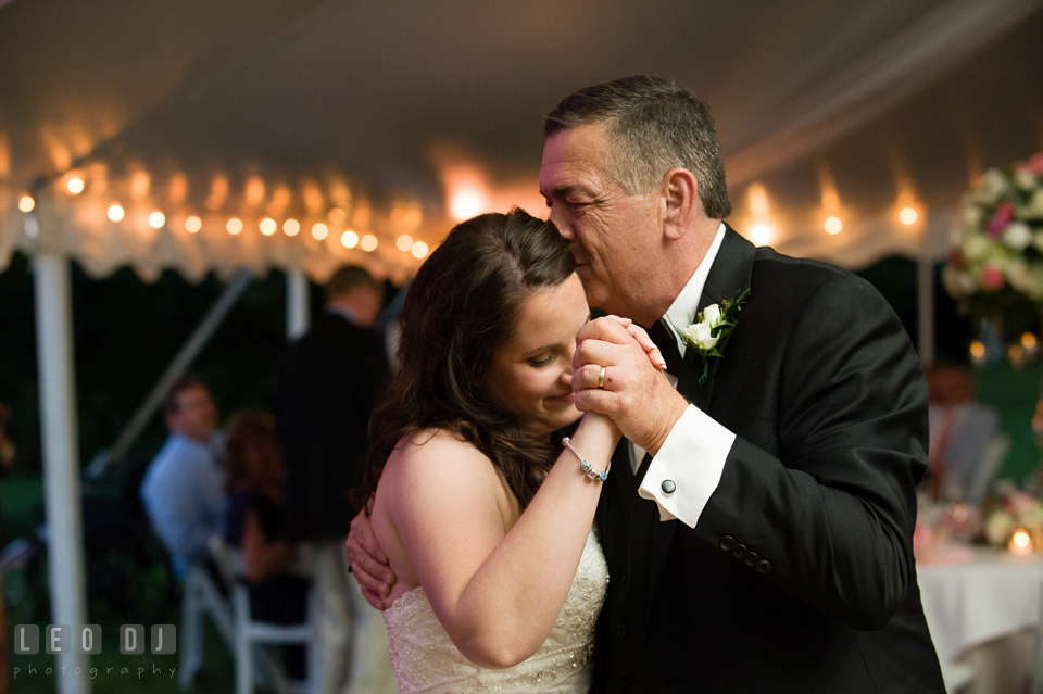 Father of the Bride dances with his daughter. Aspen Wye River Conference Centers wedding at Queenstown Maryland, by wedding photographers of Leo Dj Photography. http://leodjphoto.com