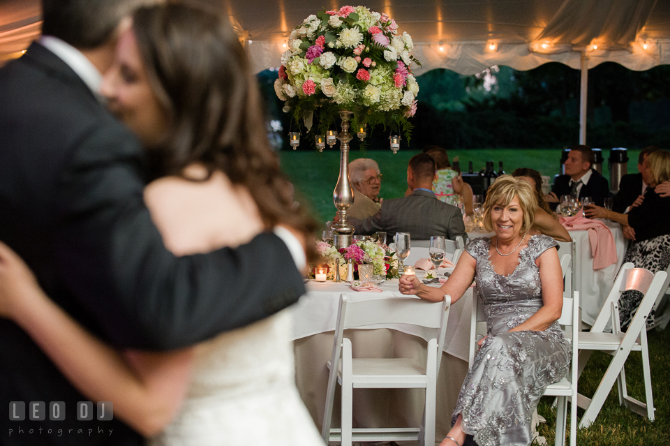Mother of the Brides looked on during the father-daughter dance. Aspen Wye River Conference Centers wedding at Queenstown Maryland, by wedding photographers of Leo Dj Photography. http://leodjphoto.com