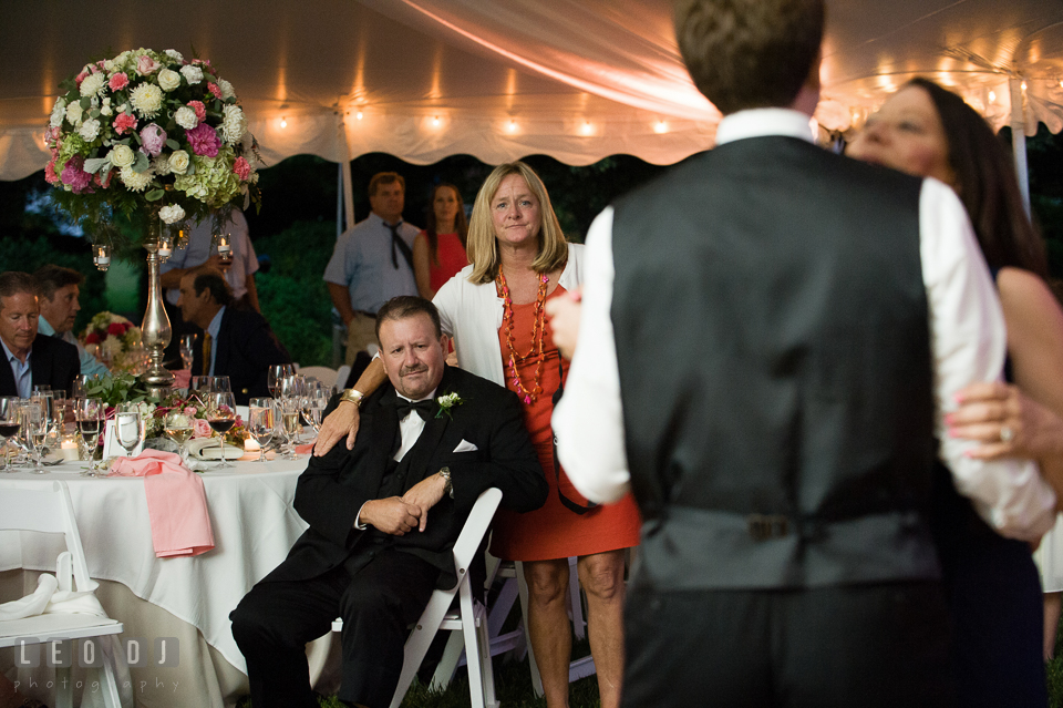 Father of the Groom and aunt watching mother-son dance. Aspen Wye River Conference Centers wedding at Queenstown Maryland, by wedding photographers of Leo Dj Photography. http://leodjphoto.com
