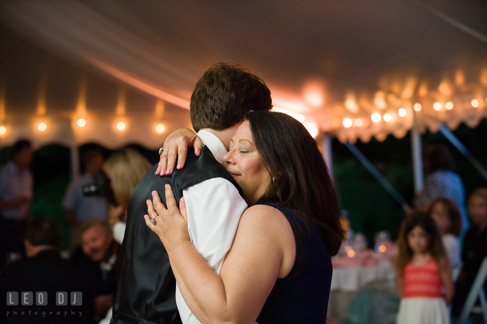 Mother of the Groom dances with her son. Aspen Wye River Conference Centers wedding at Queenstown Maryland, by wedding photographers of Leo Dj Photography. http://leodjphoto.com