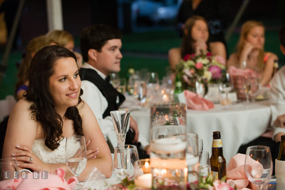 Bride smiling as she watches the parent dance. Aspen Wye River Conference Centers wedding at Queenstown Maryland, by wedding photographers of Leo Dj Photography. http://leodjphoto.com