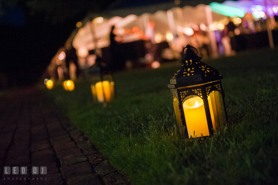 Lantern lighting up the wedding venue. Aspen Wye River Conference Centers wedding at Queenstown Maryland, by wedding photographers of Leo Dj Photography. http://leodjphoto.com