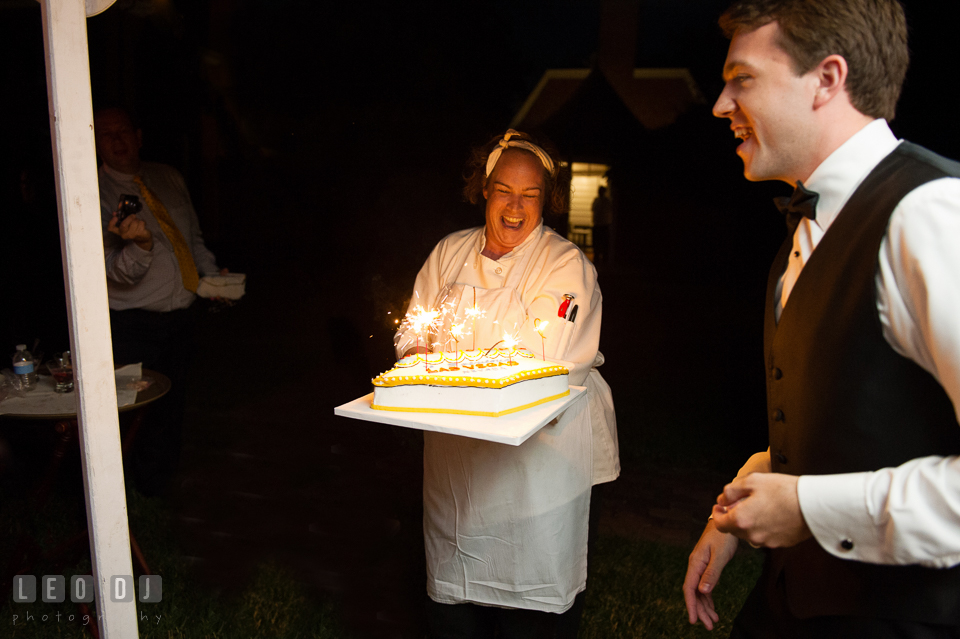 Groom's surprise birthday cake from the Bride. Aspen Wye River Conference Centers wedding at Queenstown Maryland, by wedding photographers of Leo Dj Photography. http://leodjphoto.com