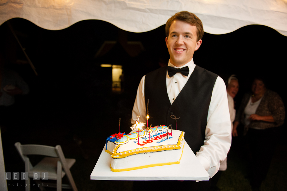 The Groom and his birthday cake with Las Vegas decoration. Aspen Wye River Conference Centers wedding at Queenstown Maryland, by wedding photographers of Leo Dj Photography. http://leodjphoto.com