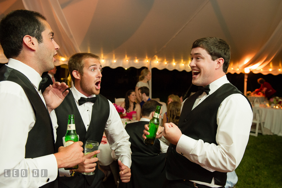 The Groomsmen partying at wedding reception. Aspen Wye River Conference Centers wedding at Queenstown Maryland, by wedding photographers of Leo Dj Photography. http://leodjphoto.com