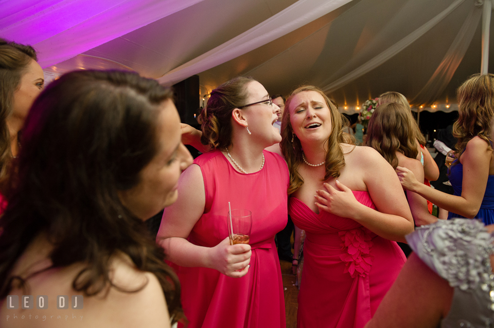 The Bridesmaids singing along at the wedding reception with music by DJ Steve Moody. Aspen Wye River Conference Centers wedding at Queenstown Maryland, by wedding photographers of Leo Dj Photography. http://leodjphoto.com