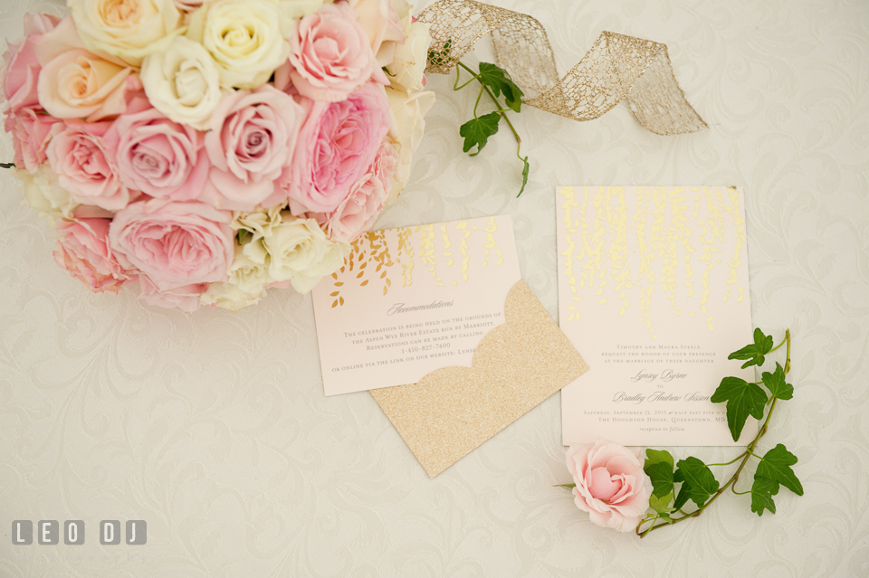 Aspen Wye River Conference Centers invitation cards and flower bouquet from Intrigue Design and Decor photo by Leo Dj Photography