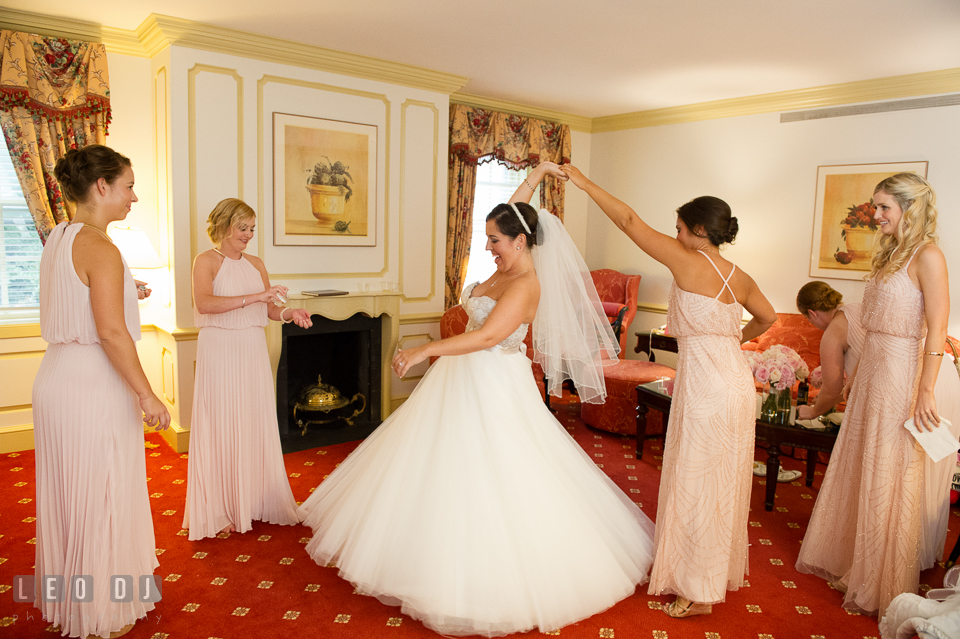 Aspen Wye River Conference Centers Bride dancing while getting ready photo by Leo Dj Photography