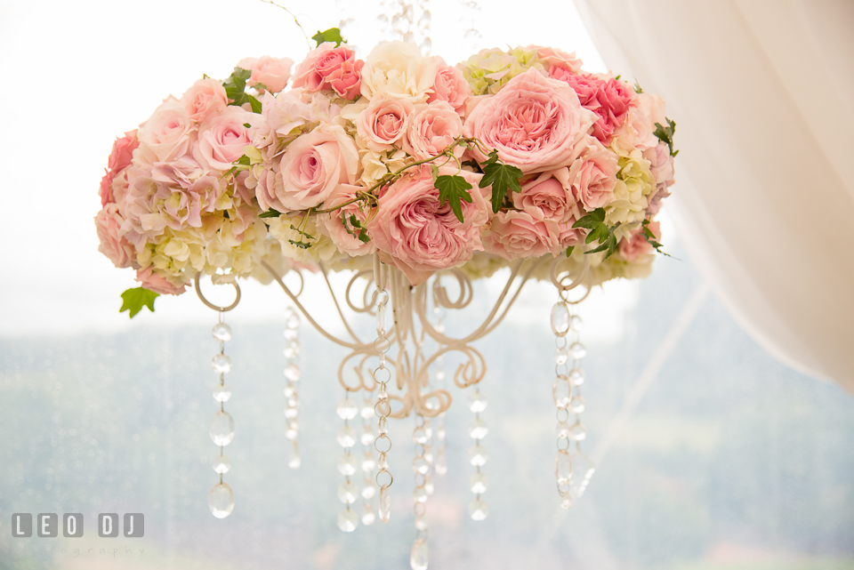 Eastern Shore Maryland Wedding flower chandelier by Intrigue Design and Decor photo by Leo Dj Photography