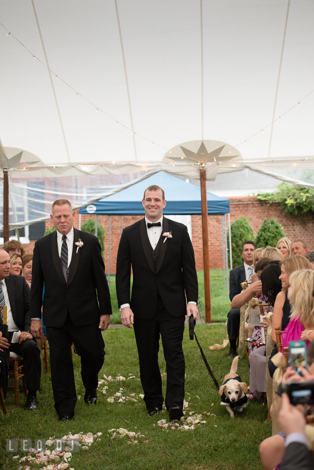 Queenstown Maryland Father of Groom and Son walking down the aisle during wedding ceremony photo by Leo Dj Photography