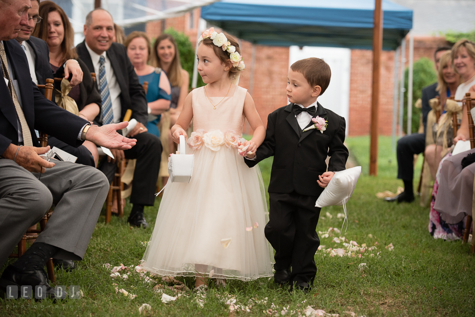 Aspen Wye River Conference Centers flower girl and ring bearer during wedding procession photo by Leo Dj Photography