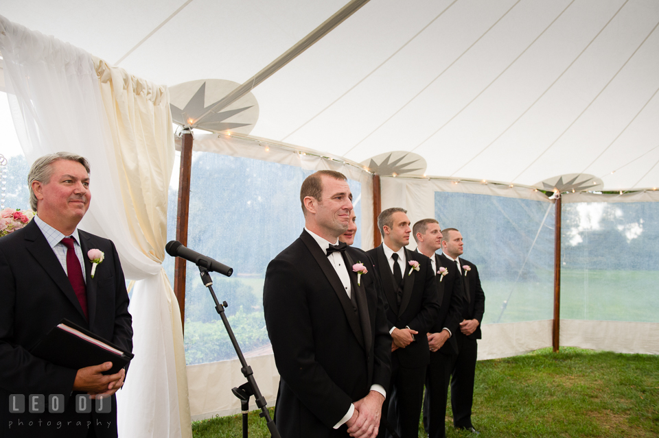 Aspen Wye River Conference Centers Groom cried seeing Bride for the first time during ceremony photo by Leo Dj Photography