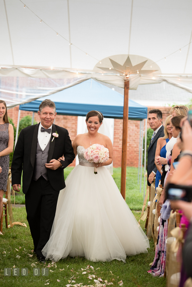 Eastern Shore Maryland Father of Bride escorting daughter walking down the aisle for wedding procession photo by Leo Dj Photography