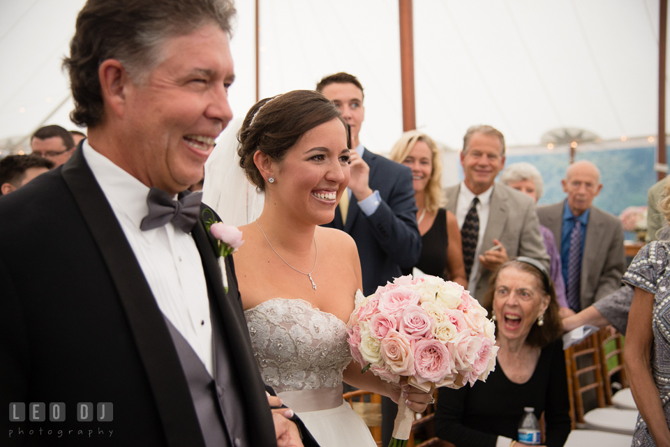 Eastern Shore Maryland Bride in tears seeing Groom for the first time at wedding ceremony photo by Leo Dj Photography