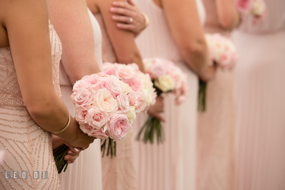 Aspen Wye River Conference Centers bridesmaids holding wedding bouquet during wedding ceremony photo by Leo Dj Photography