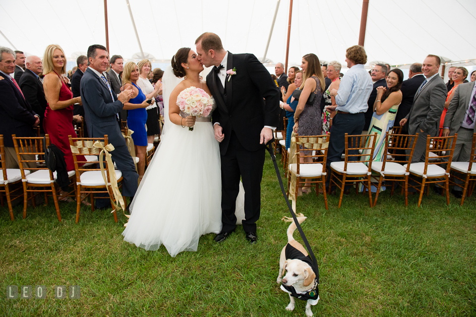Aspen Wye River Conference Centers Bride Groom kissing during ceremony processional with dog photo by Leo Dj Photography